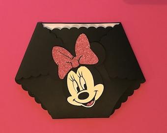 Baby Minnie Mouse diaper invitation