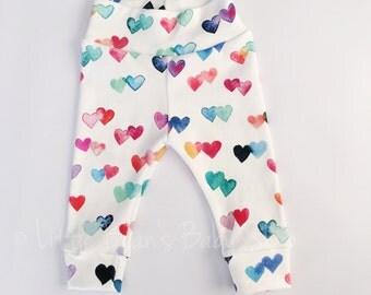 valentines leggings, baby girl, organic leggings, baby girl leggings, girl pants, newborn leggings, heart leggings, baby joggers