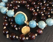Mala Gemstone Garland Dark Red Garnet and Turquoise Blue River Stone 108 Bead Necklace Meditation Mantra Counter Hand Knotted Jewelry