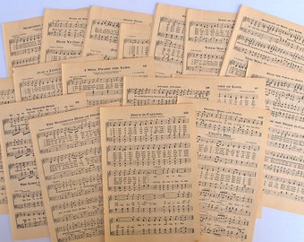 1912 antique hymnal sheet music for paper crafting, junk journals, smash books, scrapbooking and collage