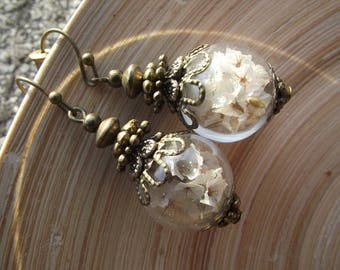 Earrings white blossoms glass hollow beads 16 mm