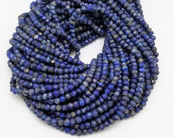 3.5 mm - 4 mm Lapis Lazuli Faceted , 12.5 Inch