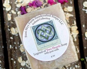 Legend of Two Hearts Soap - Irish Soap - Ireland Collection - Spa Soap - Goat Milk Soap - Natural Soap - Handmade Soap - Suni Skyz Farm Soap
