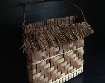 Handwoven cedar bark mail pouch, mail pocket with fringe