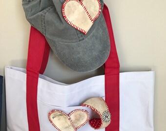 Tote bag/ Women's Baseball tote bag/baseball heart/ used baseball deconstructed