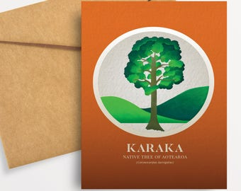 Karaka illustration in gouache. A6 greeting card with envelope – Native Trees of Aotearoa series.