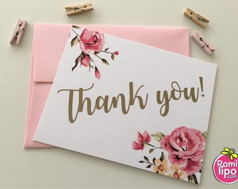 Thank you cards, Set of 10 note cards with envelopes, personalized, girl stationary, stationery set, note cards, thank you, floral. flowers