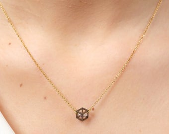 Handcrafted 3D cube necklace, 24K gold plated silver chain pendant necklace, cubic zirconia necklace, everyday minimal necklace for women