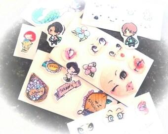 100% Customizable small sticker sheets, scrapbook embellishments, pastel stickers (READ DESCRIPTION CAREFULLY)