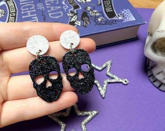 Black Glitter Skulls - Dangle Earrings - Halloween