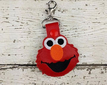 Giggling Red Monster Keychain - Bag Tag - Small Gift - Party Favor - Thank You Gift - Bag Accessory - Zipper Pull