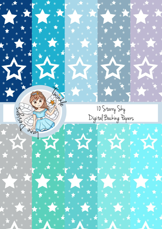 Starry Night Digital Papers Nights Sky Digital Paper Pack