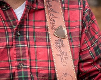 Custom Handmade Guitar Strap with stamp boarders