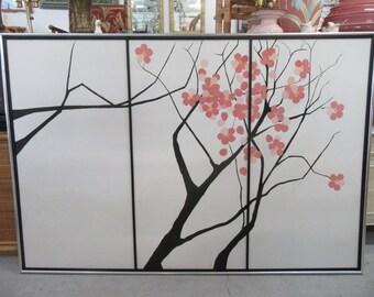 Large Vintage Cherry Blossom Painting Palm Beach Regency