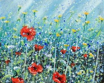 Little Poppy Meadow/floral/poppy/meadow/flowers/countryside/wild flower/flower field/limited edition/print/ bridget skanskisuch