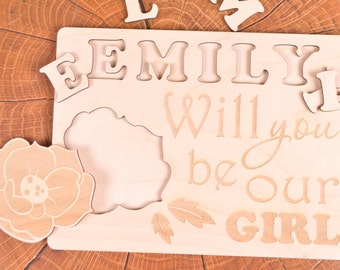 Will you be our flower girl gift puzzle, Be my flower girl, flower girl puzzle wooden gift, flower girl gifts, flower girl proposal, jigsaw