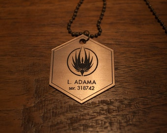 Battlestar Galactica Lee Adama Dog Tag Necklace -  Apollo Starbuck Adama Tigh Pegasus Cylon Viper Colonial Gaius Boomer Helo Cosplay Raider