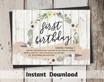 Printable Girls First Birthday Invitation Template - Rustic Boho Flower, Floral Wreath, Wood - Digital File Instant Download - 1st Party