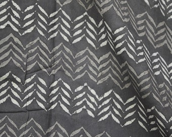 Hand Stamped Fabric, Soft Cotton Fabric in Brownish-grey Indian Fabric Dabu Block Printed cotton fabric by the yard, Dress Fabric