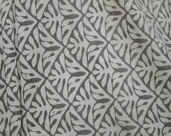 Indian Fabric for Summer Dresses Block Printed cotton fabric Soft Cotton Fabric in Brownish-grey Color sold by yard Dabu Hand Stamped Fabric