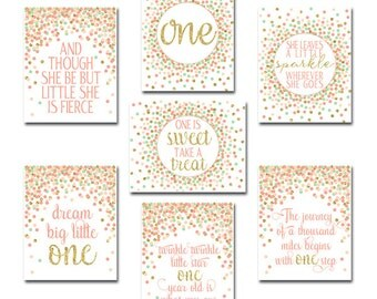 First Birthday Party Decor Set 1st Birthday Party Signs First Birthday Sign Coral Peach Mint Gold Birthday Party Girl Birthday Decorations