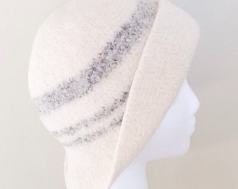 Wool Felted Hat, Womens Winter Hat, Cap, Off White, Light Taupe