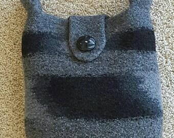 Wool Felted Purse, Bags & Purses Tote, Shoulder Bag, Black  Grey Magnetic Closure, Grommets, Purse Organizer Microfiber Hand Knit Handbag