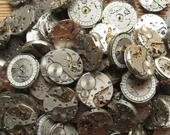 20% Off Sale 5 pcs 26 mm Watch Movements, 1 Inch Movements, Steampunk Supplies, Altered Art Supplies, One Inch Movements