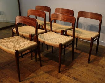 6 Niels Moller Rosewood Dining Chairs – Model 75.