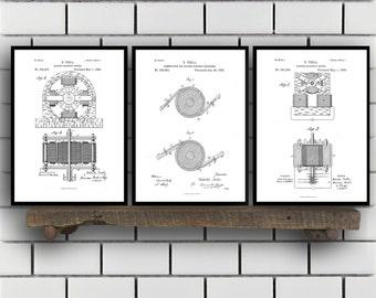 Tesla Patent Set of THREE, Tesla Electrical Transmitter Patent, Tesla Poster, Tesla Transmitter Print, Tesla Patent, Tesla Inventions, SP113