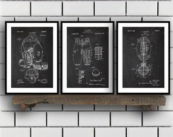 Football Patent Prints - Set of 3 - Football Decor - Football Art - Football Blueprint - Football - Football Art