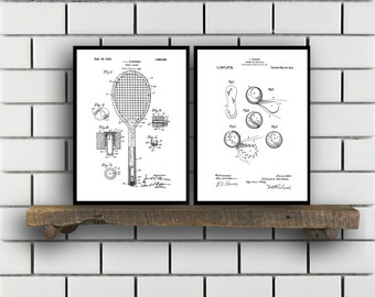 Tennis Patents Set of 2 Prints, Tennis Prints, Tennis Posters, Tennis Blueprints, Tennis Art, Tennis Wall Art, Sport Prints, Sport Art,Sp317