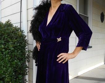 Beautiful Royal Purple 1930's-40's Velvet Dress