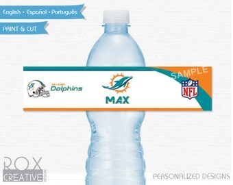 Miami Dolphins Party Water Labels, Dolphins Printable Labels, Digital – Customized