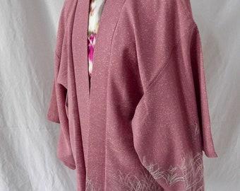 Kikkyou Flower, vintage Japanese Kimono Haori jacket in pink silk with wax batik print