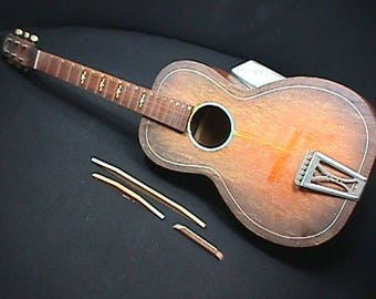 Antique U.S.A. Made Regal Solid Wood Parlor Style Guitar as-is