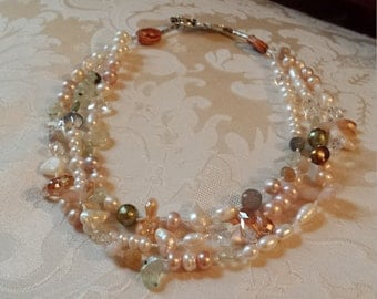 Three strand freshwater pearl assorted pearl necklace