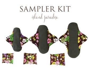 Comfy Cloth Mama Cloth Charcoal Bamboo Menstrual Pads - Island Paradise Pattern - Kit of All Cloth Pad Sizes