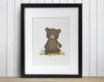 Brown Bear Cub Woodland Friends Baby Nursery Print