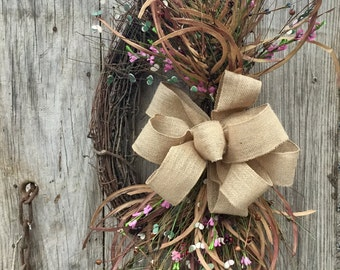 Grapevine Wreath With Florals and Pip Berries--Spring Wreath-Summer Wreath - Primitive Wreath - Wedding Wreath - Free Shippiing