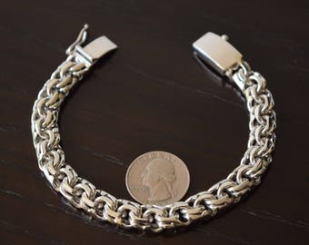 Mens 925 Sterling Silver Thick and heavy chain link bracelet Handmade.