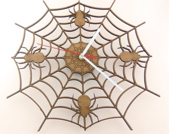 """Wooden wall clock """"SPIDER'S WEB"""""""