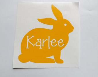 Easter Bunny personalized decal-yeti cup-window-laptop-personalized Easter Decal-Easter Basket Decal-Vinyl Stickers-Personalized Vinyl Decal