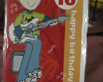 10 Happy Birthday Boy Playing Electric Guiter  Birthday Card