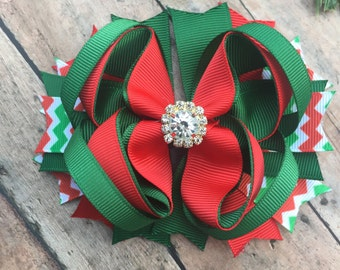 Christmas Hair Bow - Christmas Hairbow - Holiday bow - Red and green hair bow - Boutique bow - Christmas Boutique Bow - Chevron - Hair Clip