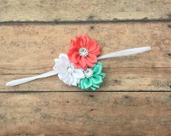 Coral and aqua headband - flower headband -  dainty - thin elastic headband - baby girl headband - newborn headband - girl headband