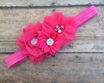 Pink Baby Headband - Pink Flower Headband - Flower Girl Headband - Baby Shower Gift - Newborn Photo Prop - Pink Headband - Toddler Headband