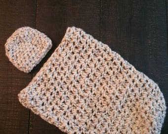 Crochet Baby cacoon and hat set