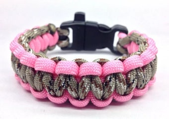 Paracord Bracelet Desert Camo/Pink with Whistle Handmade Camo Survival Hiking Hunting USA Made