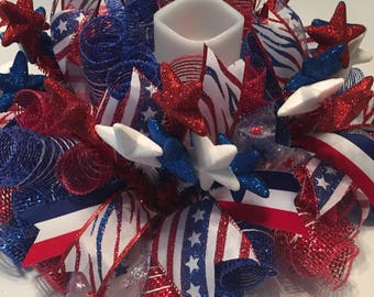 4th of July Star Clusters Red, White & Blue Striped  Mesh Centerpiece